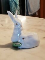 Herend Porcelain Hand Painted White Rabbits Figure - Hungary