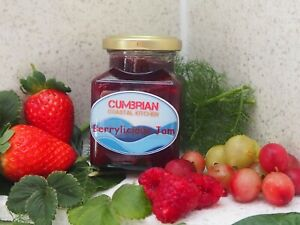 Homemade Berrylicious Extra Jam made from home grown fruit, no preservatives.