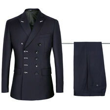 Men Navy Double Breasted Suit Tuxedo Groom Wedding Suit Prom Party Dinner Suit