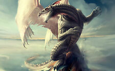 Framed Print - Giant White Dragon atop a Mountain (Picture Poster Fantasy Art)
