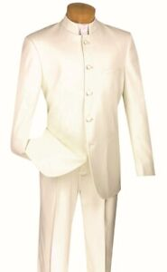 Men's Classic Fit Single Breasted 5 Button Mandarin Banded Collar Suit Ivory 5HT
