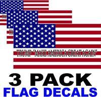3 PACK - TRUMP MAKE AMERICA GREAT AGAIN  - American Flag USA Decal STICKERS