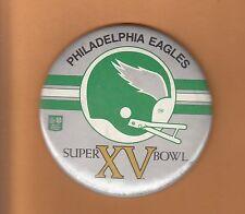 1981 SUPER BOWL XV SB 15 PHILADELPHIA EAGLES 6inch GAME SITE PINBACK Unsold Stk
