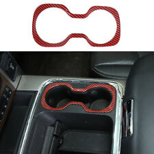 Front Cup Holder Trim Ring For Dodge Ram 2015-2017 Red Carbon Fiber Accessories