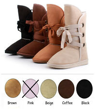 UK Warm Women Girl Suede Fur Lined Mid-calf Snow Flat Short Boots Winter Shoes