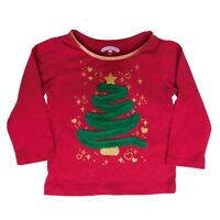 Holiday Time Infant Toddler Girls Red Tulle Ribbon Christmas Tree Tee Shirt