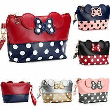 Cute MINNIE MICKEY MOUSE Polka Dots Travel Cosmetic Bag Case Clutch Bag Handbag