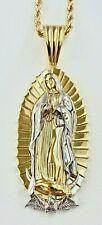 Men's Italy 925 Sterling Silver gold Our Lady of Guadalupe Pendant Rope Chain