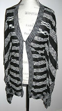KAREN MILLER ENGLAND Black & Cream Long Kimono / Cardigan w/  Belt - Size 1