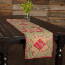 """New Primitive Country Folk Art Dolly Star Red Green Quilted Table Runner 36"""""""
