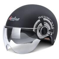 Black Motorcycle Half Helmet Dual Sun Visor Scooter Chopper Unisex Summer Helmet