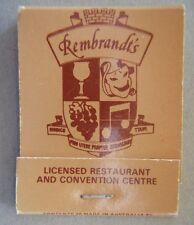 Rembrandt's Licensed Restaurant Wantirna 2216066 Matchbook