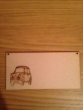 Wooden Plaque With Mini Cooper laser cut 3 mm Mdf 200 X 100 Mm
