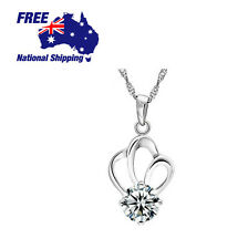 Sterling Silver 925 Crown Lab Diamond Pendant Necklace Chain