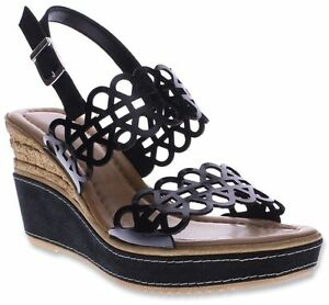 NIB Spring Step Azura Women's Nicola Casual Buckle Wedge Sandals Black Patent
