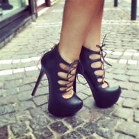 Women Gladiator Strappy 15cm Stiletto Pumps High Heel Lace Up Bootie Sandals New