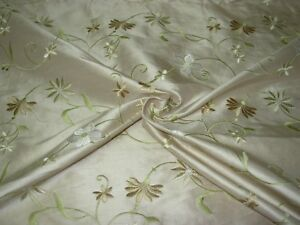 BTY 100% SILK FLORAL EMBROIDERED HOME DECOR DRAPERY UPHOLSTERY FABRIC FOR LESS~