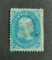 U.S. Scott #63 1861 1c Blue laid paper Cancel