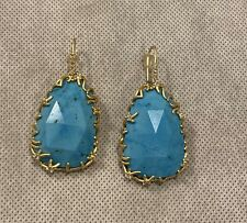 Kendra Scott LUXE Stone Nest Drop Earrings In Turquoise Magnesite - Rare, HTF