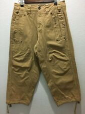 ADIDAS ORIGINALS Khaki Denim Jeans Shorts 3/4 Pants Drawstring Small S