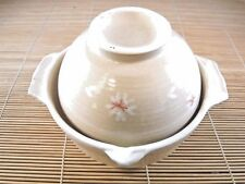 NIB JAPANESE EARTHENWARE SINGLE SERVING DONABE W SPOUT HANDLES WHITE FLORAL LID