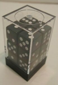 12 15mm 6-sided black dice (12d6) in plastic case