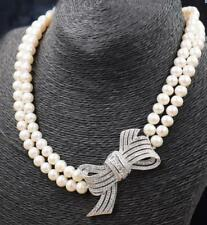 """2 row 8-9mm south sea white Pearl Necklace 17""""18"""" 9 2 5 silver"""
