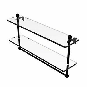 Mambo Collection 22 Inch Two Tiered Glass Shelf with Integrated Towel Bar - M...
