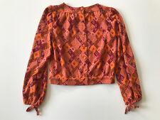 Vintage 70's Vibrant Orange & Maroon Sweater Jacket SMALL Argyle Bishop Sleeve
