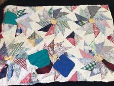 VINTAGE HAND QUILTED WELL WORN TUMBLING FLOWER PATTERN CUTTER QUILT PIECE
