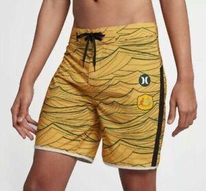 """Hurley Phantom National Australia Team Men's 18"""" Board Shorts Swim Trunks Sz 34"""