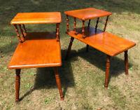 2 Vintage Mid Century 2 Tier Step End Table Matching Set Turned Wood