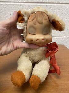 Vintage 1950s Rushton Rubber Face Pig Plush Stuffed Animal Musical Rare