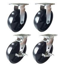 4 Heavy Duty Caster 8 Plastic Wheels Rigid Swivel Amp Brake