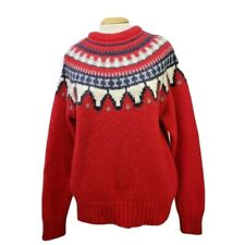 Woolrich Women's Sweater Large L Wool Mohair Red Fair Isle Long Sleeve Crew Neck