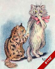 PROPOSING LOUIS WAIN LOVE CAT KITTEN PET ANIMAL ART PAINTING REAL CANVAS PRINT