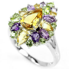 Sterling Silver 925 Genuine Citrine Amethyst and Peridot Ring Size Q  (US 8.25)