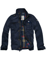 Mens CALI HOLI Flannel Lined Military Cargo Jacket Navy 155020