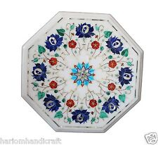 """12""""x12"""" Marble Coffee Table Lapis Stone Inlay Living room Home Art Decor H1467"""