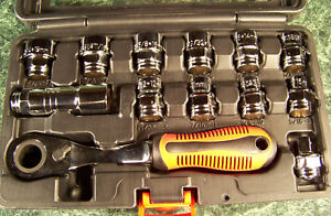 13pc Go Thru Spline Socket Ratchet Set SAE and METRIC 20 Sizes Hollow Center