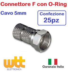25pz Connettore F con ORING Spina F a Vite SATELLITARE e TV per Cavo 5mm