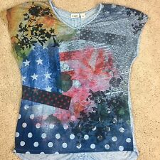 Size Large t shirt v neck CATO high low patriotic 4th of july