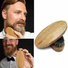 Mens Boar Hair Bristle Hard Round Wood Handle Beard Mustache Stylling Brush Tool