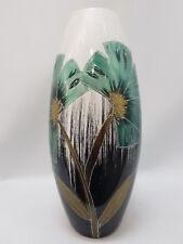 White Blue Black Hand Painted Decorative Ceramic Vase