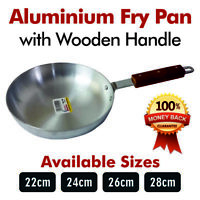 High Quality Heavy Gauge Aluminium Frying Cooking Pan With Wooden Handle 22-30CM