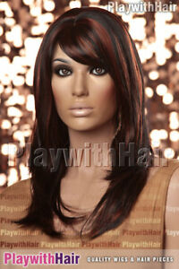 Classic Silky Layered Long Wig Black Red Tip