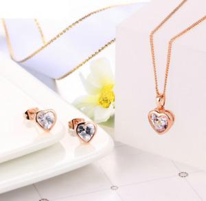 Parure Collier Boucles d'Oreilles Coeur Cristal Plaqué Or Rose - Bijoux des Lys
