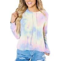 Womens Tie Dye Long Sleeve Hooded Sweatshirt Hoodie Casual Pullover Jumper Tops