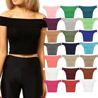 Ladies Bardot Off Shoulder Crop Top T-Shirt Vest Sleeveless Plain Bandeau 8-14