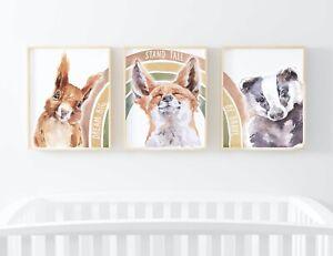 Woodland Animal Rainbow Children's Set of 3 Quote Picture Nursery Print UNFRAMED